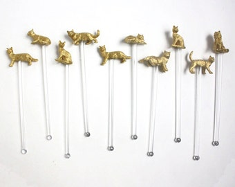 Feline Friends Gold Cat Drink Stirrer, Swizzle Stick, Cocktail Stirrer- Set of 10