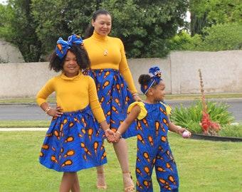 Blue Orange African Drops Mommy and Me Ankara Set, Jumpsuit, Romper  Head Wrap, Ladies Skirt, Girls Skirt, African Clothing, Girls Clothing