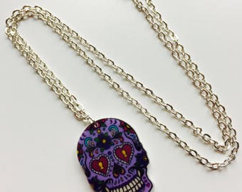 Sale | Skull | Sugar Skull | Candy Skull | Day Of The Dead | Halloween | Printed | Laser Cut | Acrylic | Necklace