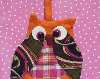 Handmade owl coin purse, with strap, fabric owl pouches, colorful owl coin purses, hoot pouch for your loot, backpack, school pouch