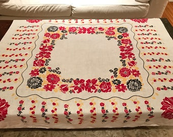 Vintage 50's Cotton Tablecloth, Red, Yellow and Black Floral Design, Tomato Design, 50's Vintage Tablecloth, 50's Square Tablecloth