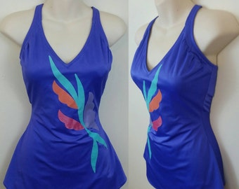 70s Skirted Swimsuit Lilac Shiny Abstract Design One-piece L