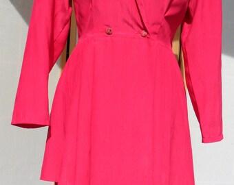 REDUCED 1980s Fuschia pink two piece peplum suit