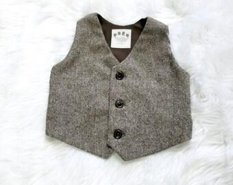 Toddler vest, Boys Vest, Ring Bearer, Toddler Boy, Photo Prop, Ring Bearer Vest, Toddler Ring Bearer, Ring Boy, Tweed Vest, Brown Vest, Boys