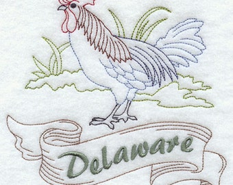 Delaware Blue Hen Chicken Embroidered Tea Towel, Delaware Blue Hen Chicken Embroidered Flour Sack Towel, Delaware State Bird Towel