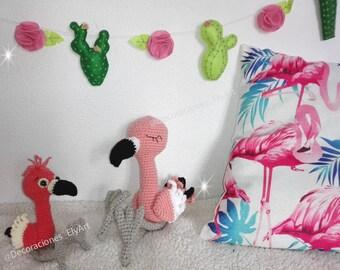Crocheted Flamingo Knitting Doll, flamingo pattern, flamingo amigurumi pattern, flamingo for babies, decorating with flamingos