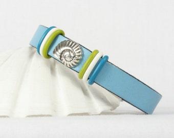 Shell bracelet, Blue leather bracelet, Ammonite fossil, Beach design, Magnetic clasp, CarolMade L25