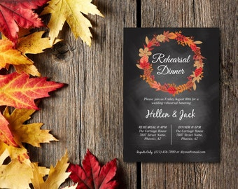 Rehearsal Dinner Invitation, Party Invitation, Rustic Chalkboard Autumn Wreath, Template, DIY EDITABLE PDF, Printable Instant Download E49A