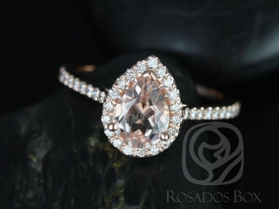 Rosados Box DIAMOND FREE Tabitha 8x6mm 14kt Rose Gold Pear Morganite and White Sapphire Halo Engagement Ring