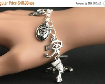 MOTHERS DAY SALE Egypt Bracelet. Egyptian Artifacts Charm Bracelet. Egyptian Bracelet. Travel Bracelet. Archaeology Bracelet. Handmade Jewel