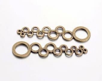 2 bronze originals round connectors / modern / circle / long