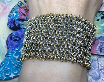 Steel chainmail cuff gold silver mesh bracelet