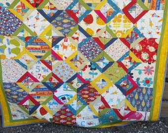 Handmade single bed patchwork quilt, childs quilt