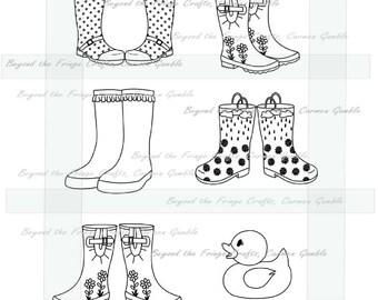 Digital Stamp Rubber Boots Medley