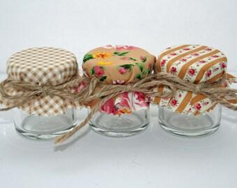 Jam Jar covers, fabric Jar covers, Mini Jar Covers, Fabric Jar covers, Jam Pot Covers, Gold Fabric Covers