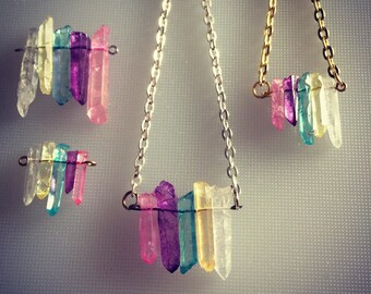 PASTEL quartz CRYSTAL necklace