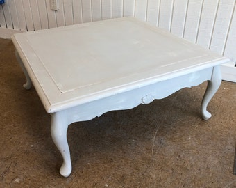 Shabby Chic Coffee Table Gray White Distressed Farmhouse Vintage