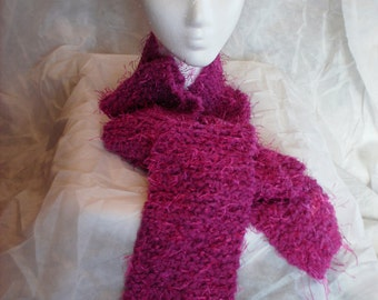 Riot Eyelash Scarf, Textured Eyelash Scarf, Hand Knitted, Fuschia (Deep Pink), Long and Warm, Fashion Accessory, Soft, Winter Accessory