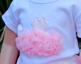 Fluffy Ballerina Girl Tank, Tee or Long Sleeve Petti Top by Chic Baby Rose