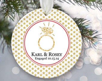 Engaged Christmas Ornament Engagement Christmas Gift Just Engaged Ornament Personalized Christmas Ornament Name & Date Choose Pattern OR176