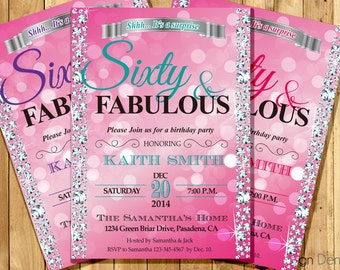 PINK Fabulous Birthday Party Invitation. 30th 40th 50th 60th  any age.  Surprise Party. Printable. #A1003C