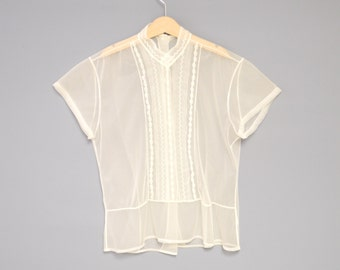 Vintage Girl's Clothes, 1950's Ivory Chffon Embroidered Girl's Blouse, Ivory Chiffon Blouse, Girl's Chiffon Blouse, Girl's Size 12