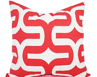 Two Coral Bed Pillows - Coral Pillow Covers - Geometric Pillows - Decorative Pillows for Couch - Coral Pillow Sham - Coral Pillows
