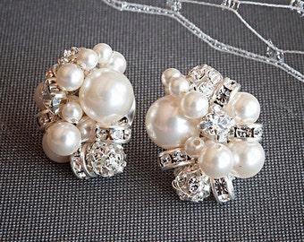 Pearl Cluster Bridal Earrings, Rhinestone and Pearl Stud Earrings, Retro Vintage Style Crystal Pearl Earrings, Wedding Jewelry, ASTER