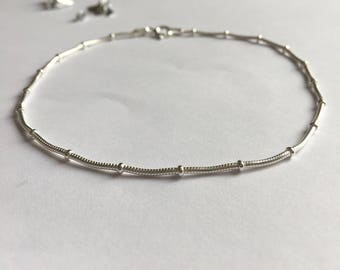 Sterling Silver Simple Snake Chain Anklet, Silver Ankle Chain, Beach Anklet