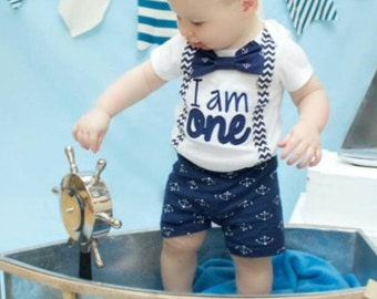 Baby boy nautical navy chevron first birthday onesie Navy chevron I am ONE boy one year outfit zig zap suspender bow tie anchor boy birthday