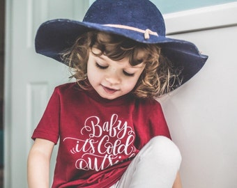 Baby It's Cold Outside American Apparel Cotton Tee Shirt - Size 2t 2 - Cranberry Color T-shirt - Kids DearSeed - Dear Seed -Handlettered