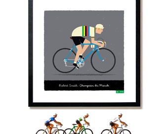 PERSONALISED Cycling Art Print, Customisable Name, Race Number, Hair, Eye and Bike Colour, Cycling Gifts