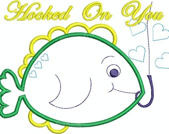 Hooked On You Fish Machine Embroidery Design  Applique