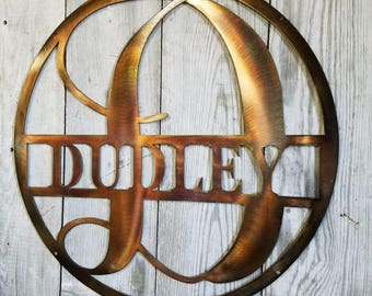 Round Family Name Sign with Large Center Letter Steel Wall Mount Personalized with Last Name
