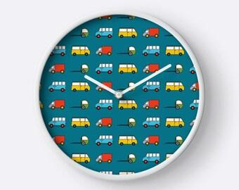 Trucks wall clock, Boys nursery clock, Kids wall clock, Boys wall clock, Truck clock, rucks bedroom, wall clock, Boys clock, Cars decor