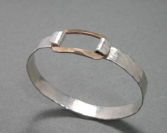 Rectangle Closure Mixed Metal Handmade Artisan Bangle Bracelet, gold filled and sterling silver latch bracelet, sterling hammered bangle