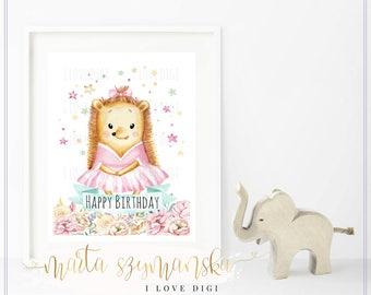 Child's room decor, Printable artwork digital download SWEET HEDGEHOG GIRL for nursery decoration poster, wall art, ilovedigi