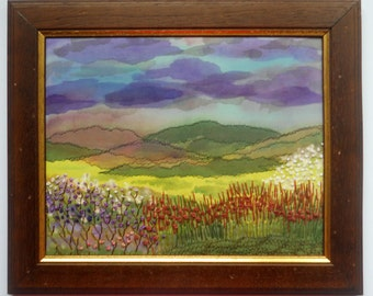 Wall hanging Art Embroidery landscape Fiber Art Textile picture Home decor Mother Day gifts