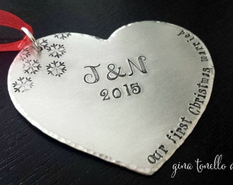 Our First Christmas Ornament Married , Personalized Wedding Gifts for Couple, Personalized Wedding Ornament, First Ornament Gift