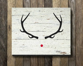 Rustic Rudolph - Rudolph The Red Nosed Reindeer, Rudolph Christmas Art, Rudolph Christmas, Rudolph Print, Rustic Christmas, Christmas Print