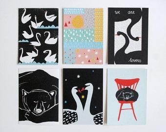 SALE! Set of six postcards #3