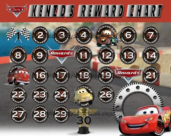 personalized disney cars reward chart custom lightning mcqueen luigi tow mater rewards digital file 1 8 x 10 or 2 5 x 7