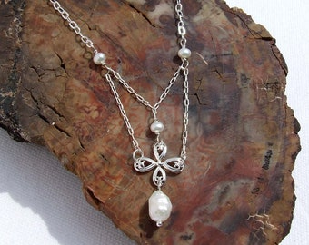 Dainty Pearl Necklace, Sterling silver fresh water pearl choker