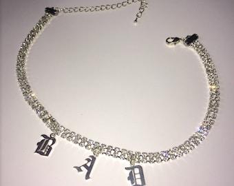 Old English Rhinestone Choker ~ Silver ~ Gothic Jewelry Y2K 90s