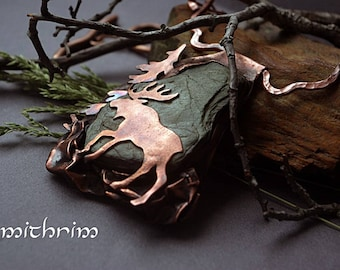 Forest necklace with wild stone| Elk | Wild nature taiga pendant| Wild forest| Unique necklace| Wild animal| Copper pendant| Siberia