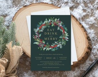 Editable Template - Instant Download Classic Wreath Holiday Party Invitation