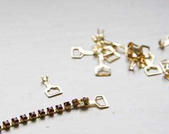 20 pcs Gold Tone Brass Base Rhinestone Chain Connectors - 10x6mm (106201)
