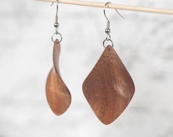 Wooden geometric earrings, Wood earrings,  Hand carved earrings, Natural earrings, Natural jewelry, Geometric Art,