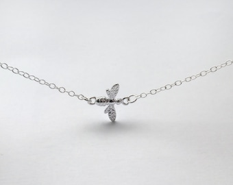 Sterling Silver Tiny Bee Necklace