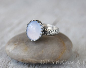 Blue Chalcedony Ring - Floral Leaf Sterling Silver Band - Handcrafted Artisan Ring - Oval Blue Chalcedony Cabochon Ring